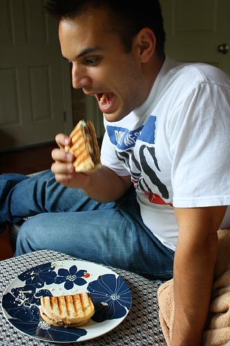 Eating a panini