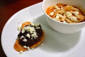 Tostada and tortilla soup