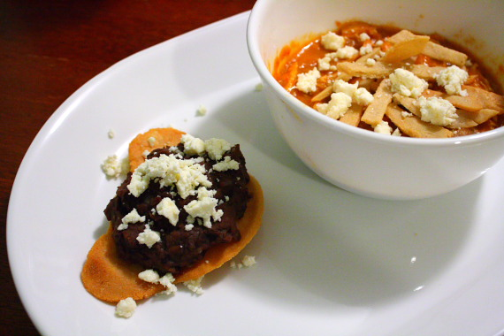 Tostada and tortilla soup