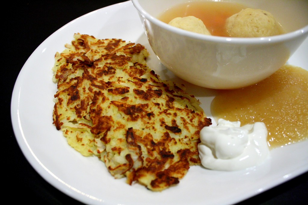 Latkes and matzo ball soup