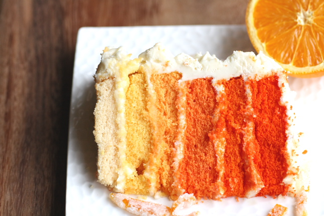 orange ombre layer cake slice