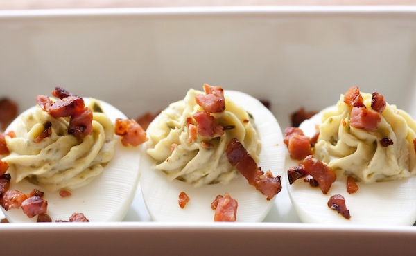 Italian style deviled eggs with pesto |