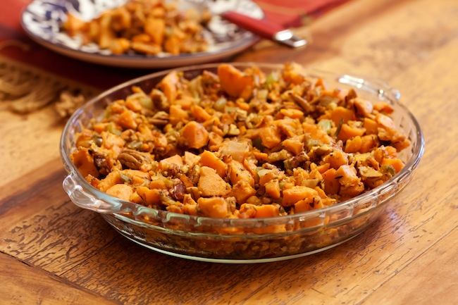 Gluten free stuffing with sweet potatoes and pecans |