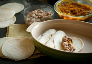 pumpkin carnitas enchiladas